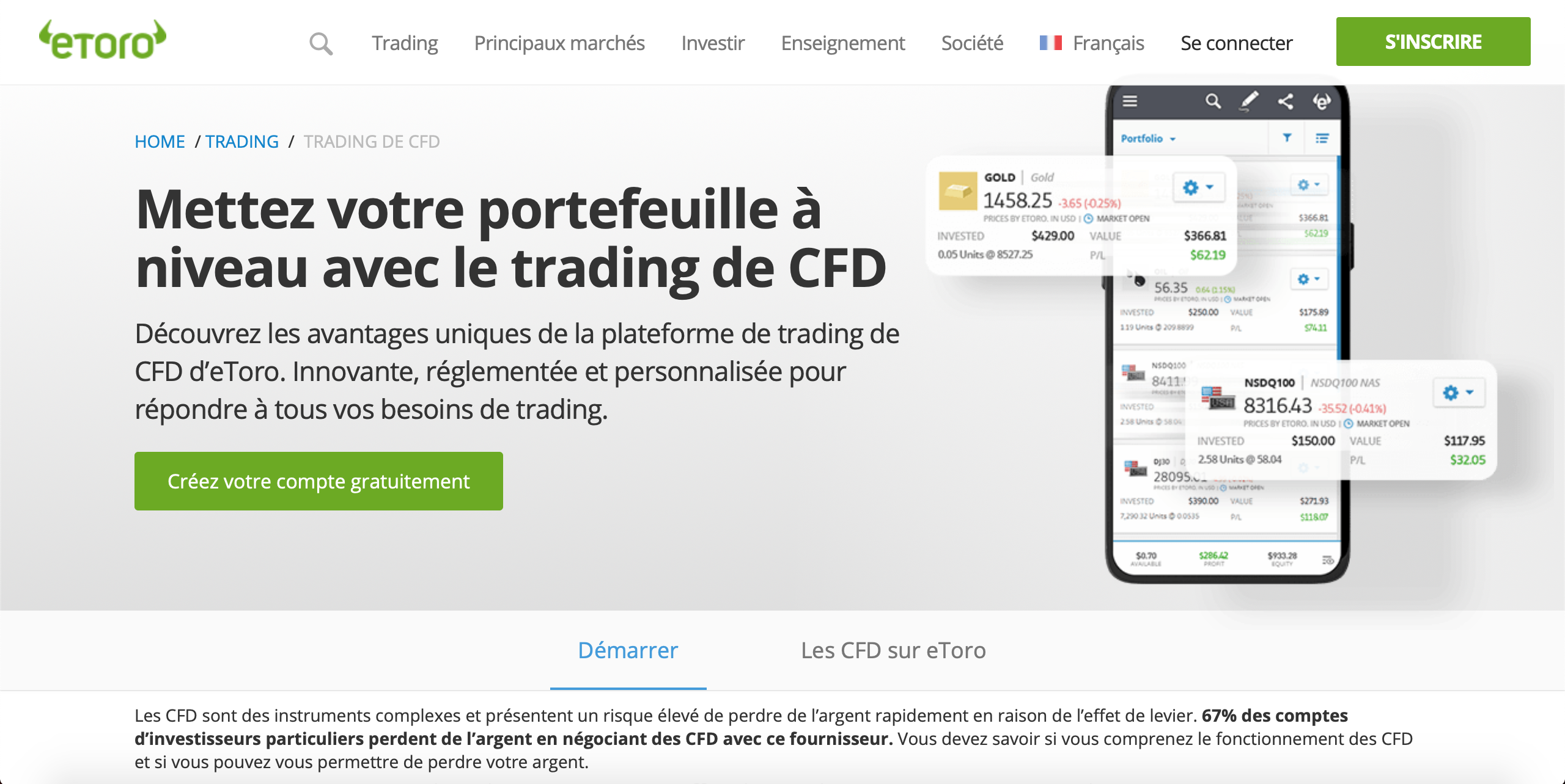 Page d'accueil CFD eToro